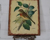 Vintage Bird on a Branch Plaque