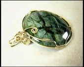 GREE JASPER WIRE WRAPPED PENDANT IN STERLING SILVER FREE SHIPPING TO USA AND CANADA