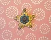 Antiqued Cream Star Polymer Clay Pendant