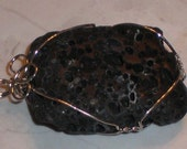 Natural Lava Rock Wire Wrapped Pendant