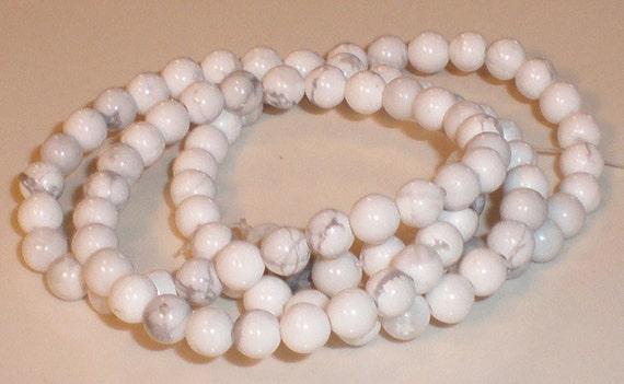 White Howlite Round Beads 4mm