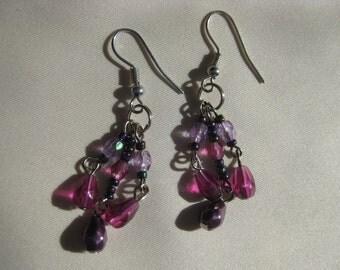 Violet Chandelier Earrings (Silver)
