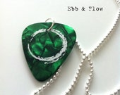 Guitar PIck Necklace - Pearl Green Pick Charm With A Sterling Silver Chain