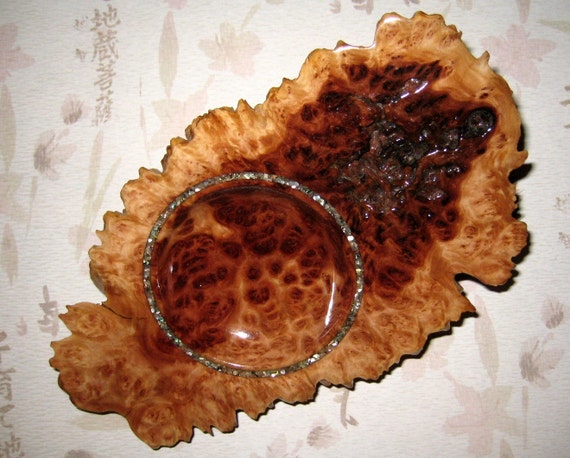 Red Mallee burl dish. Abalone inlay. Beautiful art piece