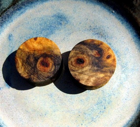 EyE PoPPing Blue & Cream Buckeye burl wood ear plugs, gauges, 22 mm, 7/8ths inch gauge, hand turned, WoW