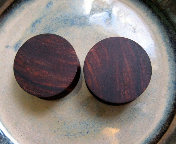 Cocobolo  ear plugs, Rosewood ear gauges, 25 mm, 1 inch gauge, hand turned, organic