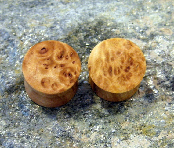 Gorgeous Maple burl wood ear plugs, gauges, 14 mm, 9/16ths inch gauge, hand turned, EyEs