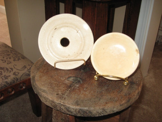 Distressed Ironstone Butter Pat  and Soap Dish Insert