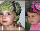 Design Your Own Crocheted Flower Cloche Hat (sizes 0 month to adult available)