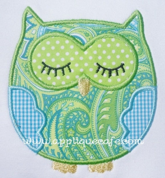 Sleeping owl machine embroidery applique design