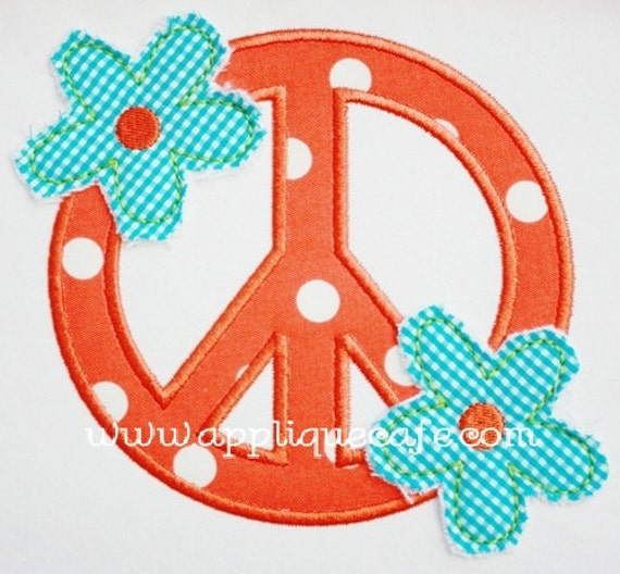 337 Raggy Flower Peace Sign Machine Embroidery Applique Design