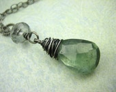 SPRING SALE-Sterling Silver Moss Aquamarine Gemstone Necklace gray oxidized Wire Wrapped