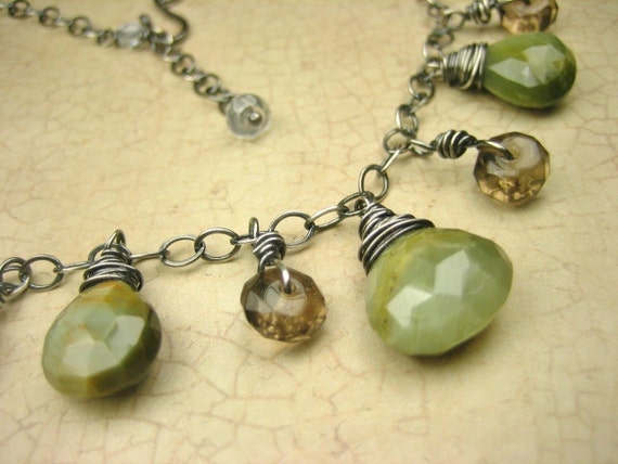 Sterling Silver Sage Green Catseye Gemstone Dangle Necklace Smoky Quartz Golden Brown Wire Wrapped Gray Oxidized