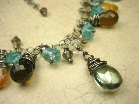 Sterling Silver Mystic Quartz Gemstone Necklace Smoky Quartz Apatite Hessonite Green Wire Wrapped Gray Oxidized