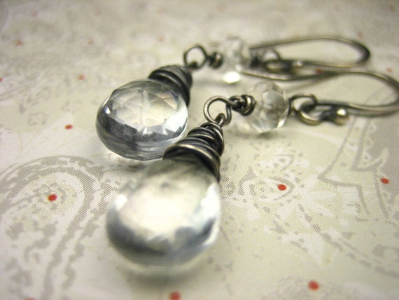 Mystic Clear Quartz Earrings Sterling Silver Wire Wrap Gray Oxidized Antique Finish