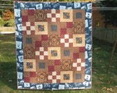 PDF Quilt Pattern - 2 Lap Sizes- Easy Nine Patch and Block- Square Dance Patchwork Quilt Pattern