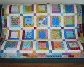 PDF copy- Lap Quilt Pattern Country Blossoms - Easy Log Cabin Block