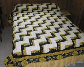 PDF Copy- Jelly Roll- Full or Queen Size Quilt Pattern - Chair Rail Log Cabin -  72 x 96 inches