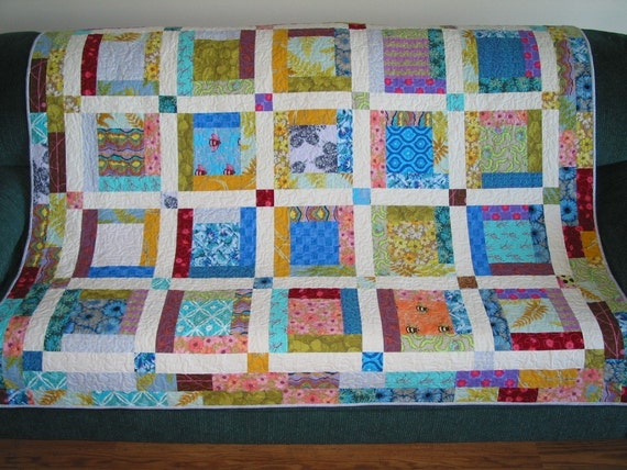 PDF copy Lap Quilt Pattern Country Blossoms Easy Log Cabin : easy log cabin quilt - Adamdwight.com