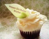 The Original EDIBLE Leaves- Personalized - Cake & Cupcake toppers - Food Decorations