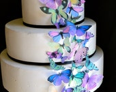 Wedding Cake Topper The Original EDIBLE BUTTERFLIES  - Assorted Purple and Green set of 30 - Cake & Cupcake toppers - Food Accessories