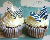 The Original EDIBLE BUTTERFLIES -small Animal Print - Cake & Cupcake toppers - Food Decorations
