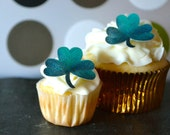 EDIBLE Shamrocks - St Patricks Day Clovers Small - Cake & Cupcake toppers - Food Accessories