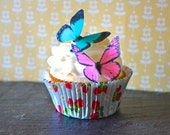 12 EDIBLE Butterflies - Hot Pink and Turquoise Edible Butterfly - Cake & Cupcake Toppers