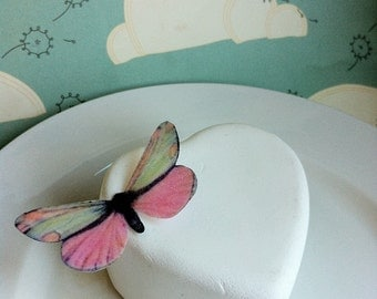 EDIBLE Butterflies The Original- Light Pink and Green - Cake & Cupcake Toppers - PRECUT and Ready to Use