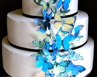 EDIBLE Butterflies The Original - Assorted Blue and Green- set of 30 - Cake & Cupcake toppers - PRECUT and Ready to Use