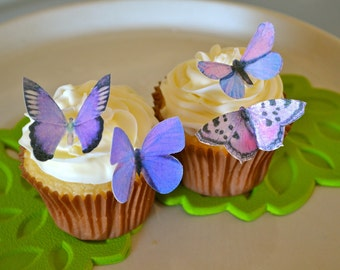 Wedding Cake Topper Small Assorted Purple Edible Butterflies set of 12 - Edible Butterflies for Cakes and Cupcakes