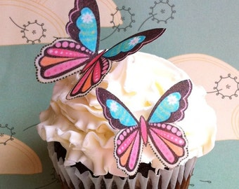 The Original EDIBLE BUTTERFLIES  - Daisy Print. - Cake & Cupcake toppers - Food Decorations