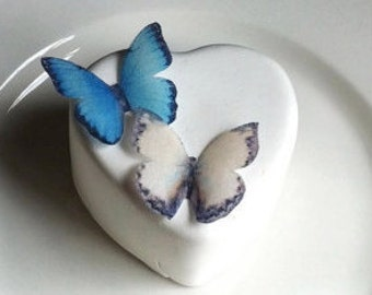 Wedding Cake Topper The Original EDIBLE BUTTERFLIES  - Small Blue and Cream - Wedding Cake & Cupcake toppers - Food Accessories