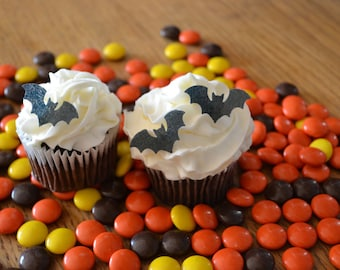 Edible Halloween Bats - 2 dozen - Cake & Cupcake toppers - Food Accessories