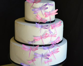 Edible Dragonflies - Assorted Pink and Purple - Cake and Cupcake toppers - set of 30 precut