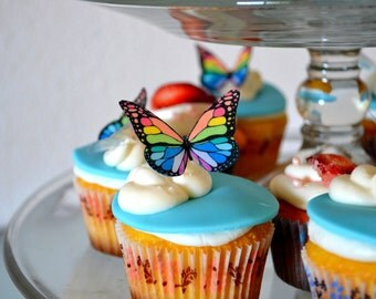 EDIBLE BUTTERFLIES The Original - Small Rainbow Monarch - Cake & Cupcake toppers - PRECUT and Ready to Use