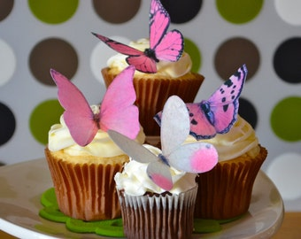 Wedding Cake Topper The Original EDIBLE BUTTERFLIES - Large Assorted Pink - Edible Wedding Favors