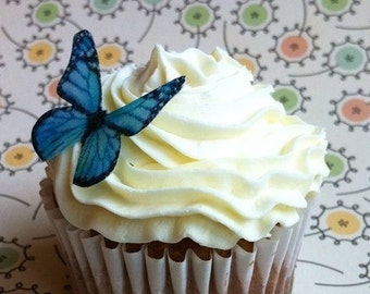 The Original EDIBLE BUTTERFLIES - Small Bright Blue Monarch - Cake & Cupcake toppers - Food Decorations