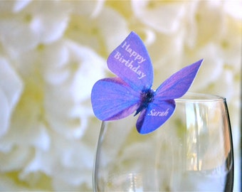 Wedding Cake Topper Edible Butterflies Personalzed - Purple Violet