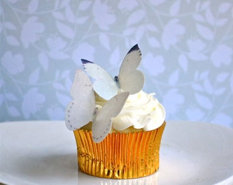 Edible Buttterflies for Cupcakes and Cakes - Small White Edible Butterfly - Cupcake and Cake Decoration