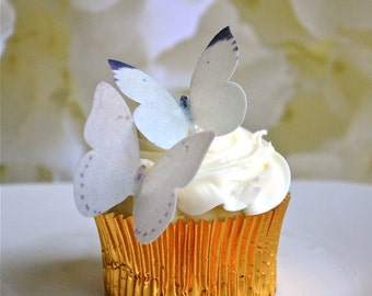 Wedding Cake Topper Edible Buttterflies for Cupcakes and Cakes - Small Ivory Edible Butterfly Wedding Cake Decoration