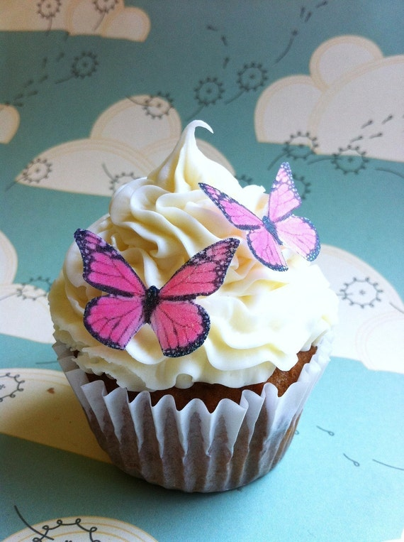 Wedding Cake Topper EDIBLE Butterfly  - small Edible Pink Monarch butterfly - Cake & Cupcake Toppers