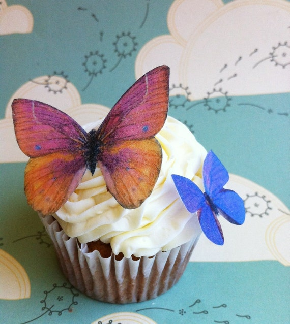 Wedding Cake Topper The Original EDIBLE BUTTERFLIES  - Orange and Violet Set