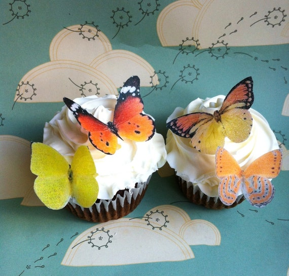EDIBLE Butterflies - Decorations for Garden Party Cake & Cupcakes - Small Yellow and Orange - PRECUT and Ready to Use