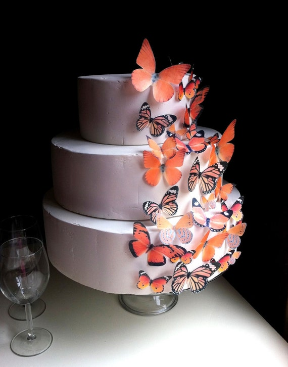 Wedding Cake Topper The Original EDIBLE BUTTERFLIES - Assorted Orange set of 30 - Cake & Cupcake toppers - Food Accessories