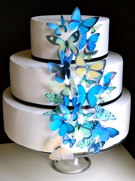 Wedding Cake Topper Blue and Green EDIBLE Butterflies - Edible ...