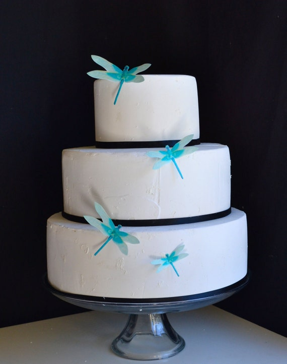 Wedding Cake Topper Edible Dragonflies - Turquoise- Wedding Cake and  Wedding Cupcake toppers - set of 30 precut