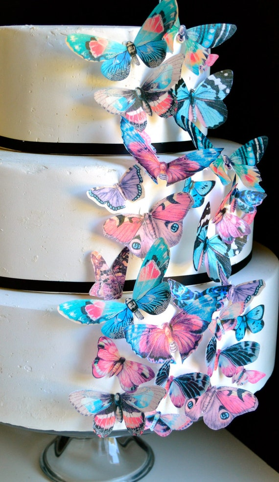 Victorian Vintage Style Edible Butterflies  - Cake & Cupcake Decoration -  PRECUT and Ready to Use
