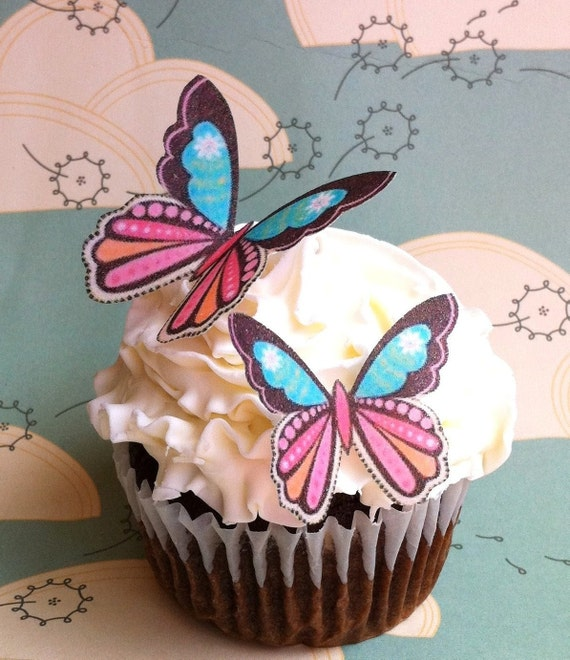 Wedding Cake Topper Daisy Print Edible Butterflies - Wedding Cupcake Toppers - Edible Buttterflies