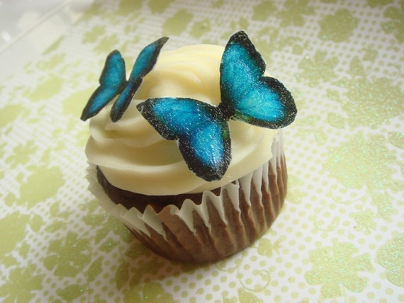 Wedding Cake Topper EDIBLE Butterflies The Original- Small Royal Blue - Cake & Cupcake toppers - PRECUT and Ready to Use